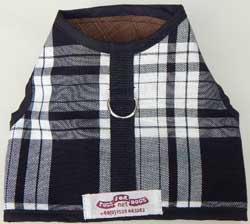 Vest Harness Black and White tartan