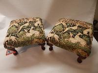Tapestry hounds Footstool