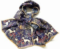 100% Silk Italian Greyhound/Whippet Scarf