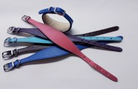 Whippet Puppy Collars, leather,padded & suede lined